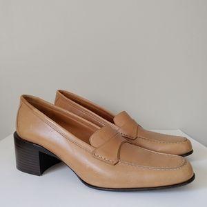 Bally Chunky Heel Loafers Size US 8.5 EU 39 Leather Slip On Tan